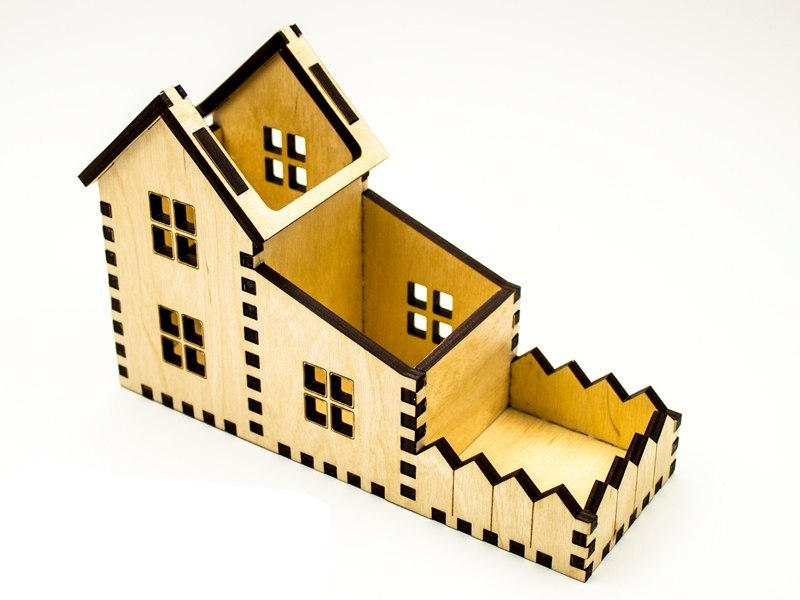 House Shape Desk Organizer Laser Cut PDF File