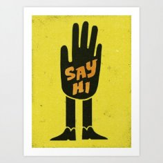 Say Hi Wall Art Free Vector