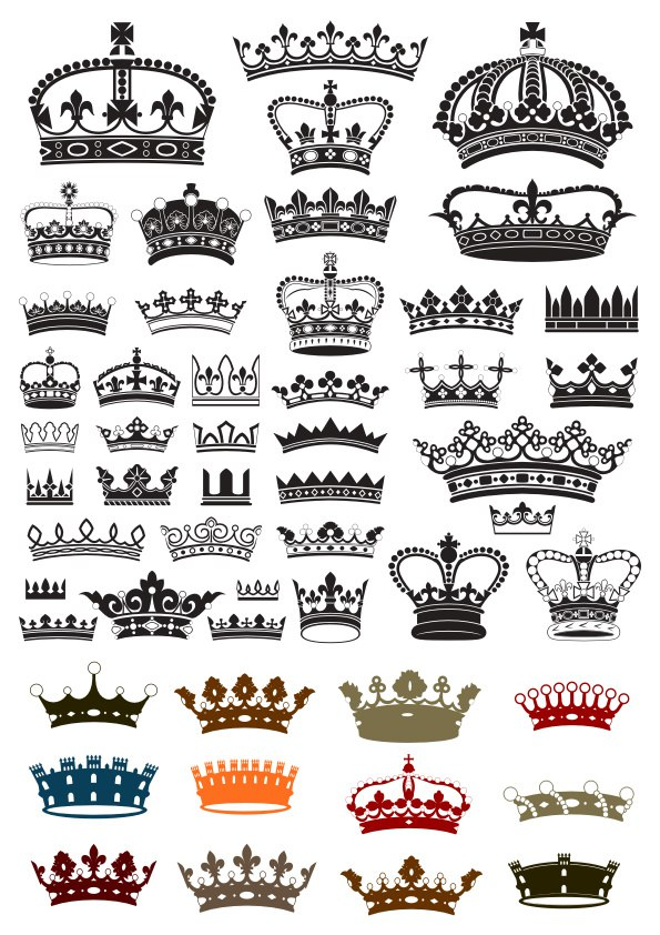 Collection of crown silhouette symbols Free Vector