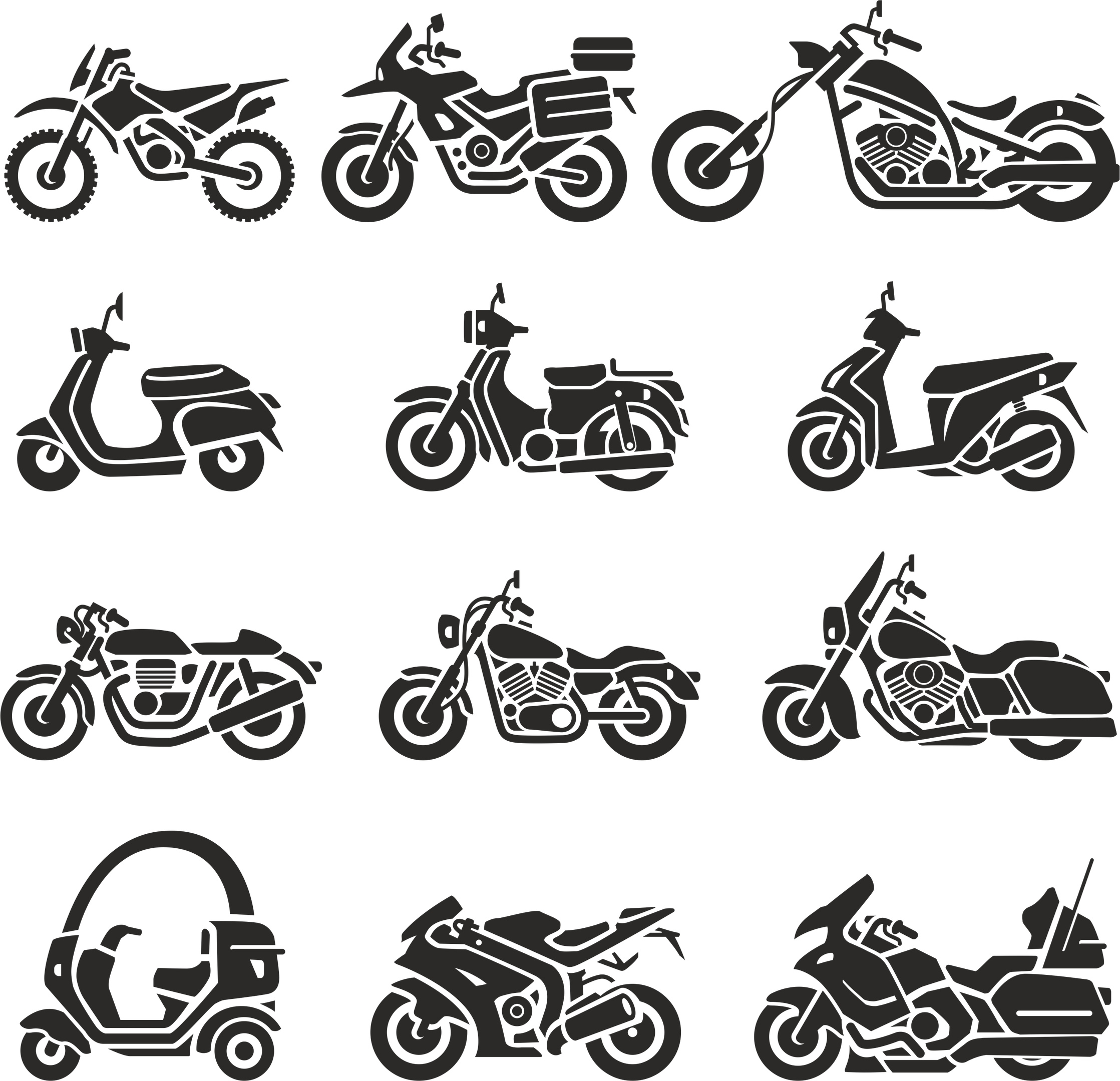 Motorcycle Silhouettes Vector Set Free Vector