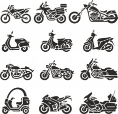Motorcycle Silhouettes Vector Set