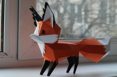 Papercraft 3D Fox 300mm A4  Pepakura Template PDF File