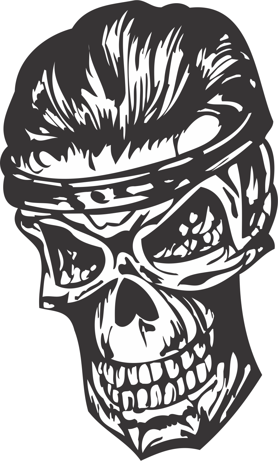 Scary Skull DXF File