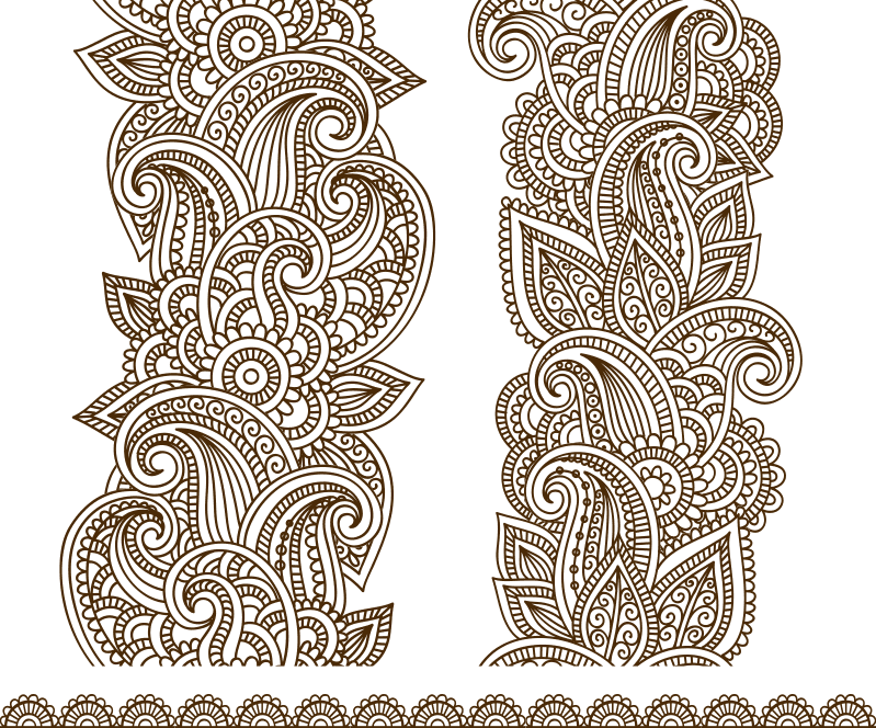 Drawn Mehndi Vector Free Vector