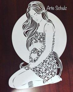 mulher-gravida DXF File