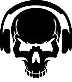 Skull with headphones vector art DXF File
