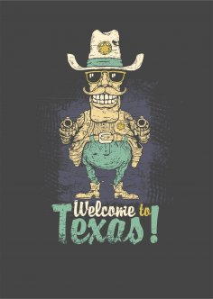 Welcome To Texas Print Free Vector