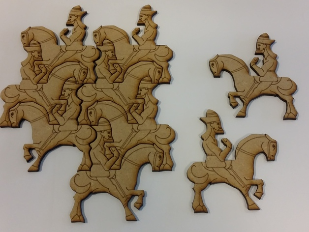 Wall Art Puzzle Man on Horse dxf File