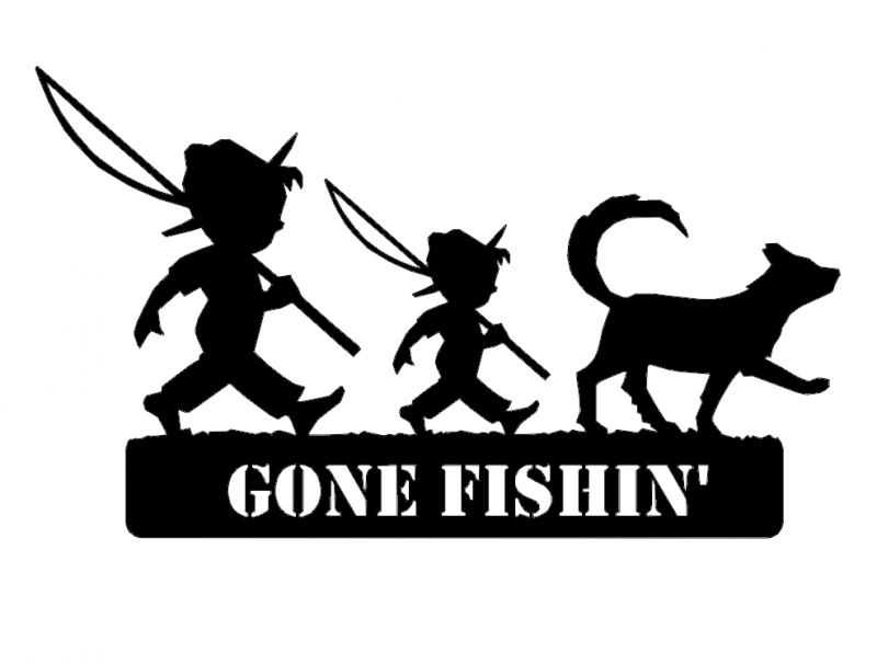 2 Boys Fishing And Dog Gone Fishin dxf File
