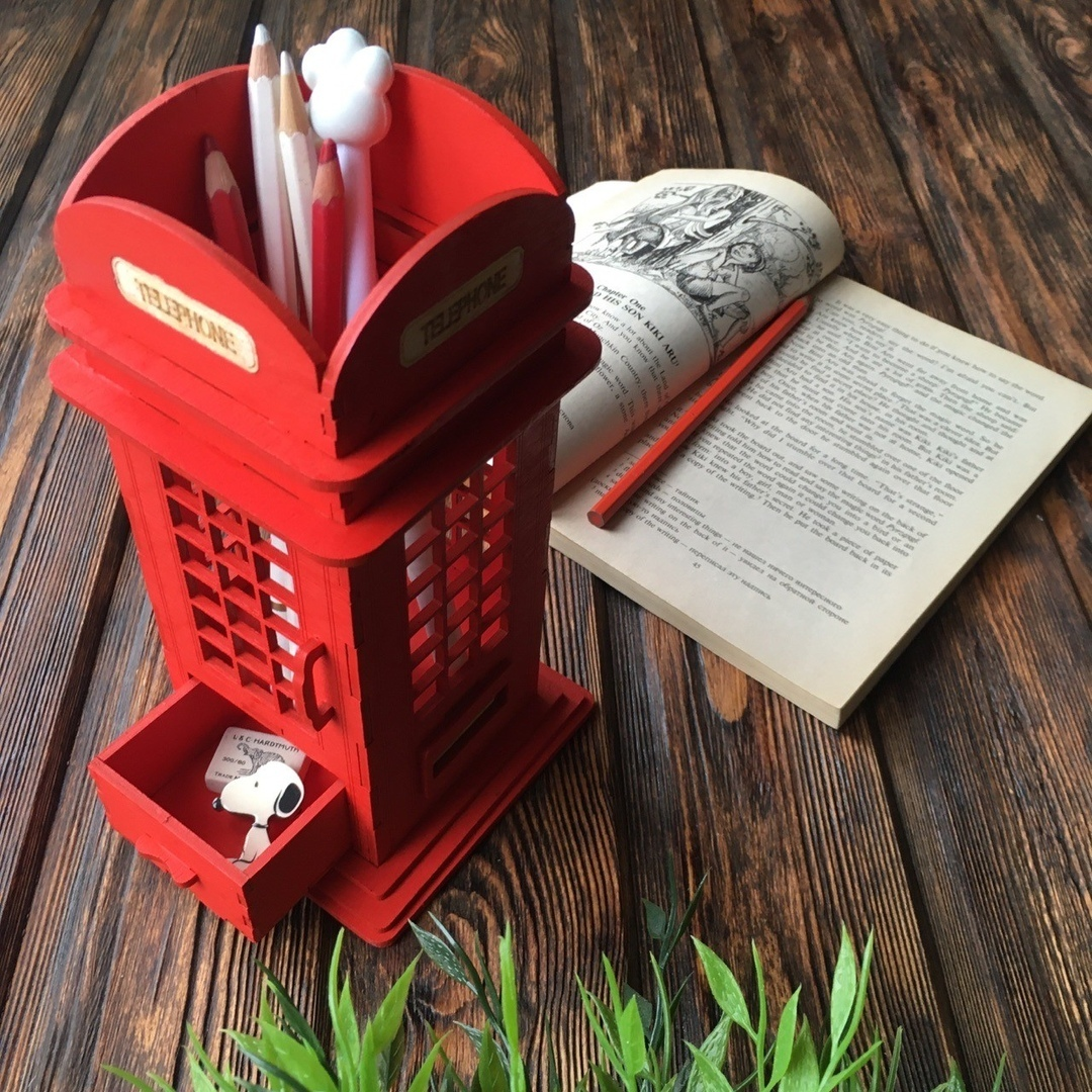 Laser Cut British Phone Booth Pencil Holder Free Vector