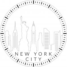 New York City Skyline Clock Laser Cut Template PDF File