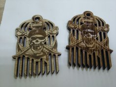 Laser Cut Pirate Beard Comb Free Vector