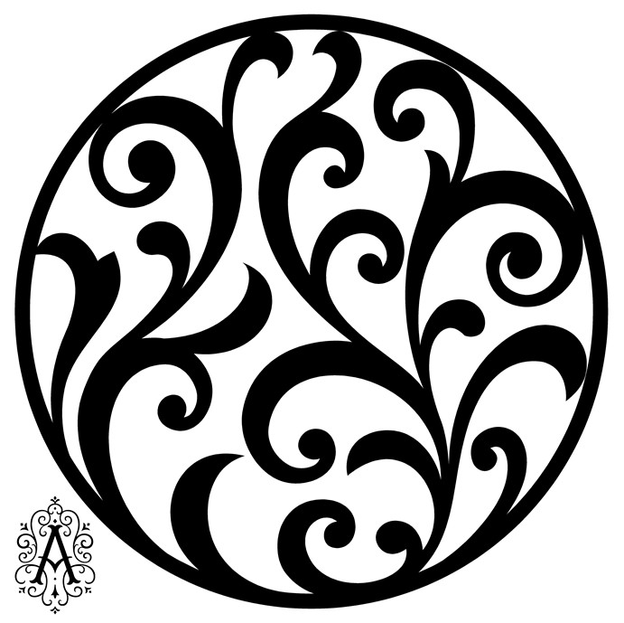 Floral Circular Pattern Template DXF File