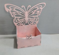 Laser Cut Box with Butterfly Free Vector