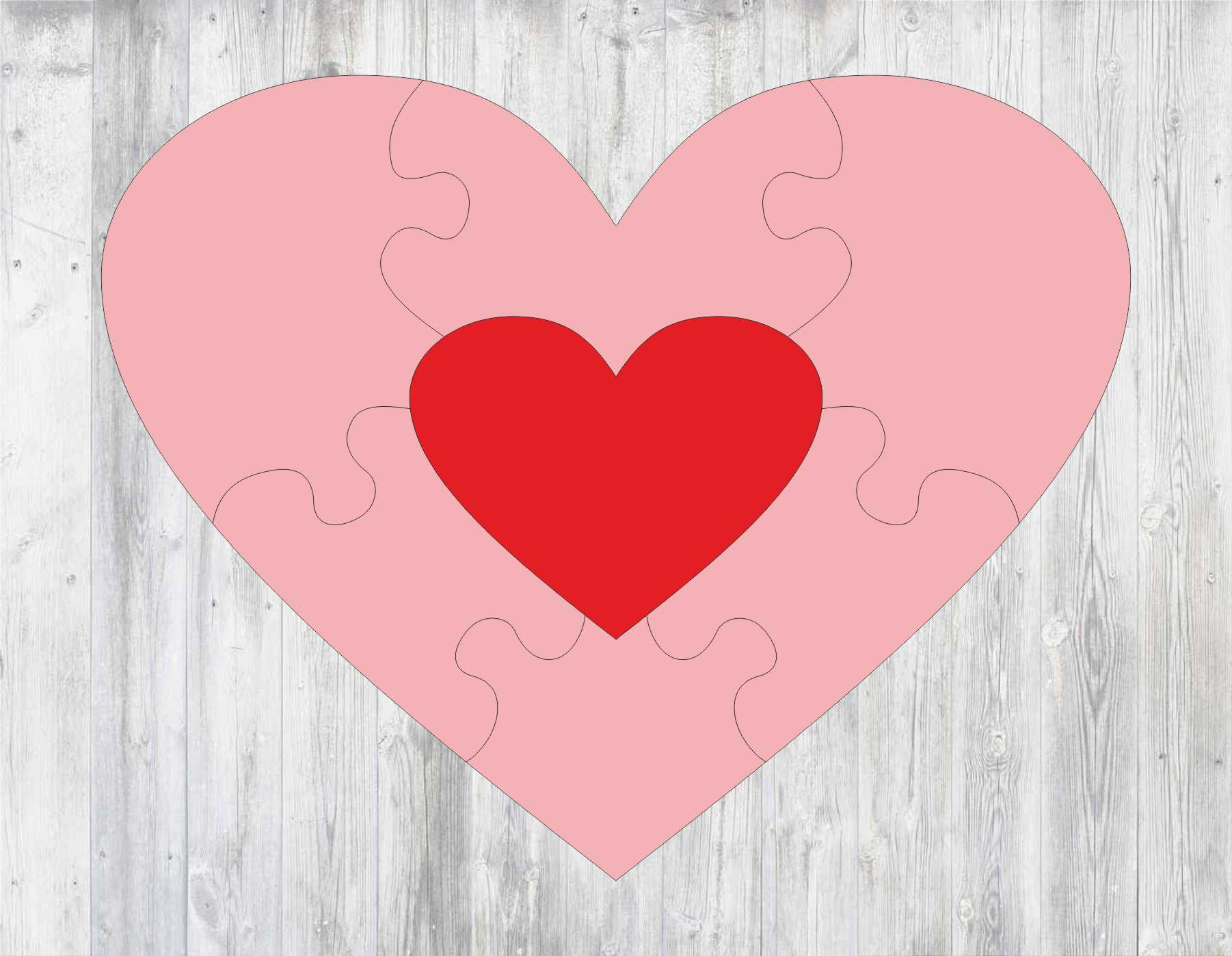 Laser Cut Heart Puzzle Template Free Vector