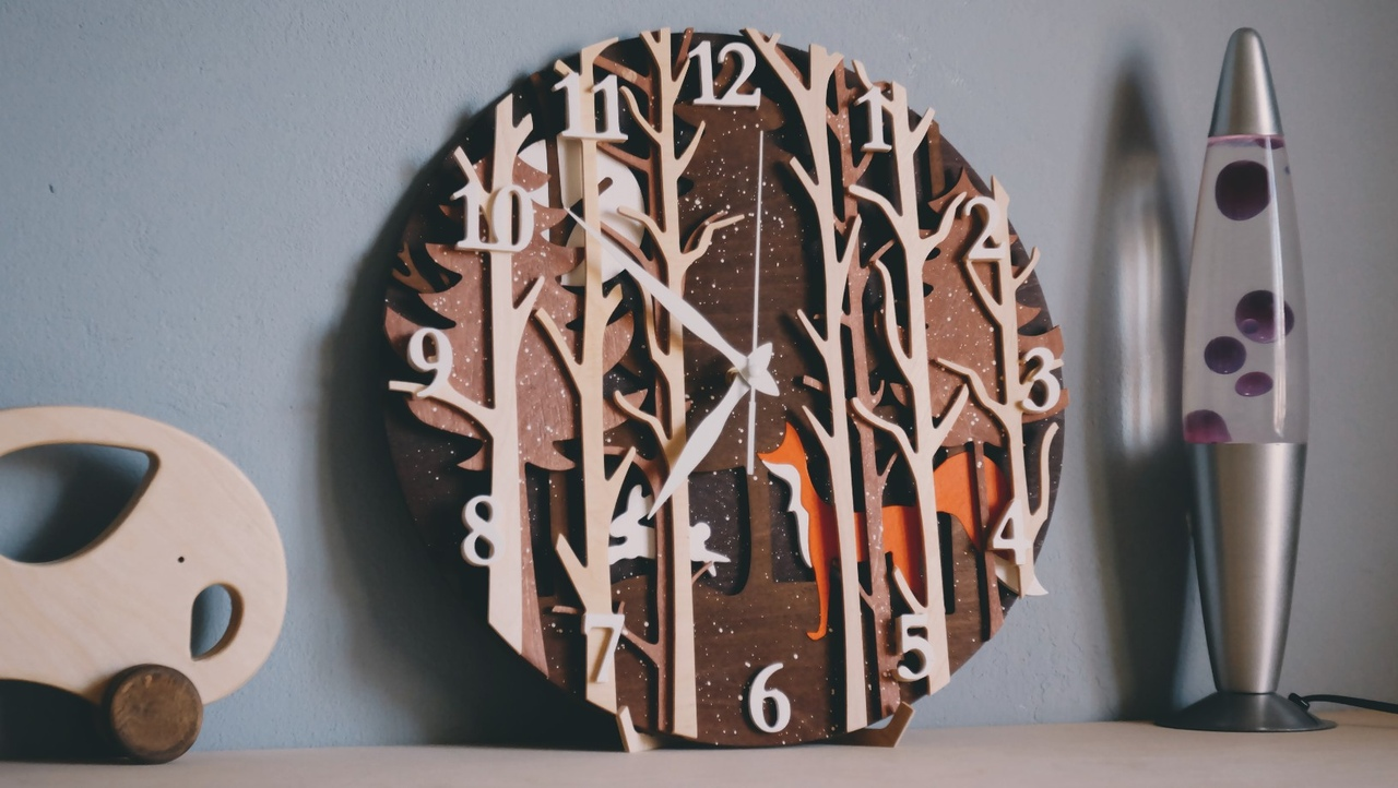 Laser Cut Clock Template Forest Fox Free Vector