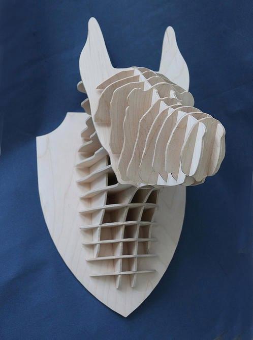 Laser Cut Doberman Dog Head Trophy 4mm Free Vector