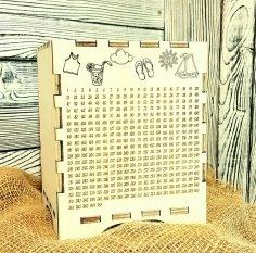 Laser Cut Wooden Piggy Bank 365 Days Save Money Plan Box Free Vector