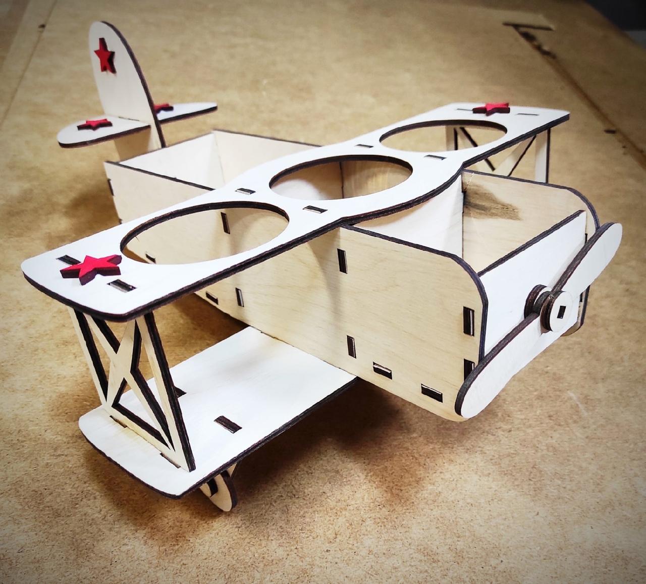 Laser Cut Airplane Model Beer Holder Free Vector