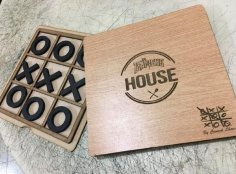 Laser Cut Tic-Tac-Toe Game Free Vector