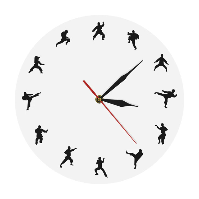 Laser Cut Karate Wall Clock Martial Arts Fighting Sports Kung Fu Wall Decor Free Vector