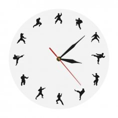 Laser Cut Karate Wall Clock Martial Arts Fighting Sports Kung Fu Wall Decor Free Vector