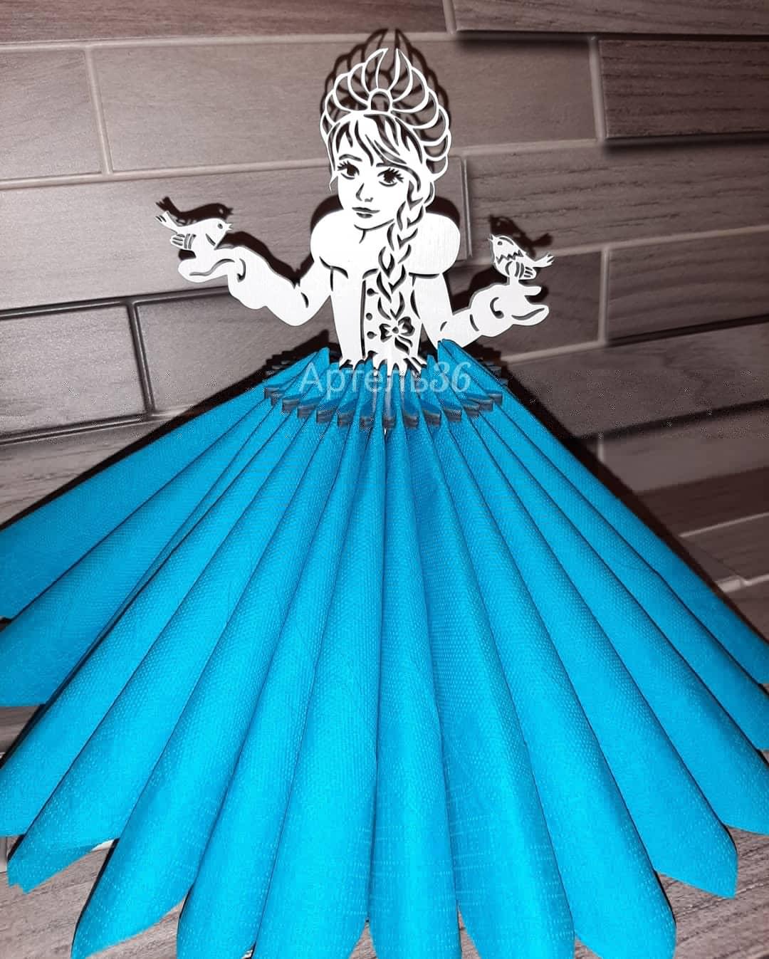 Laser Cut Decorative Wooden Tabletop Snow Maiden Napkin Holder Free Vector
