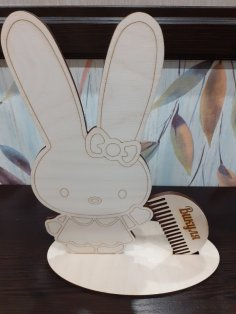 Laser Cut Bunny Hair Tie Stand With Wooden Hair Comb DXF File