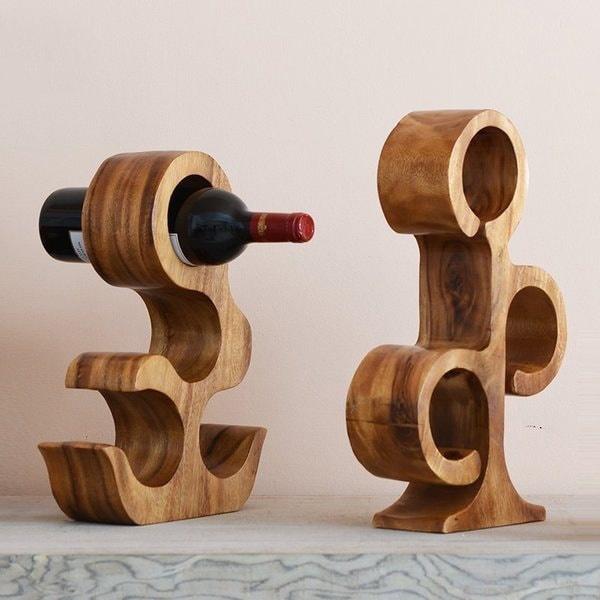 Laser Cut Cat Creative Wood Wine Rack Free Vector