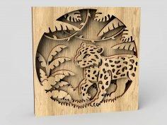 Laser Cut Jungle Scene Layered Wood Art Free Vector
