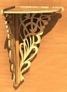 Laser Cut Wooden Decorative Corner Shelf 6mm Free Vector