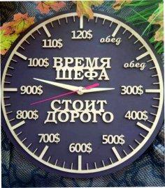 Laser Cut Chef Wall Clock время шефа стоит дорого Free Vector
