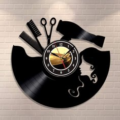 Laser Cut Hairdresser Barber Salon Beauty Salon Wall Clock Free Vector