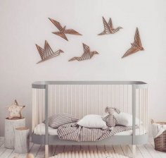 Laser Cut Wooden Birds Wall Decor Modern Wall Art Free Vector
