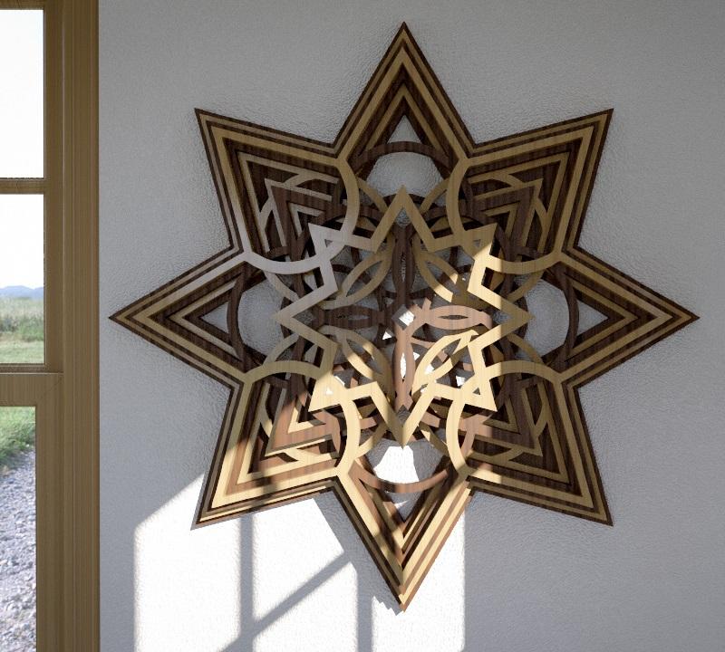 Laser Cut Wooden Star Layered Wall Art Free Vector