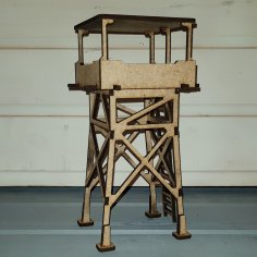 Laser Cut Wooden Guard Tower 3D Model DXF File