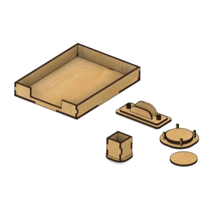Laser Cut Desk Accessories Set Document Tray Pencil Holder Coasters Business Card Holder Free Vector