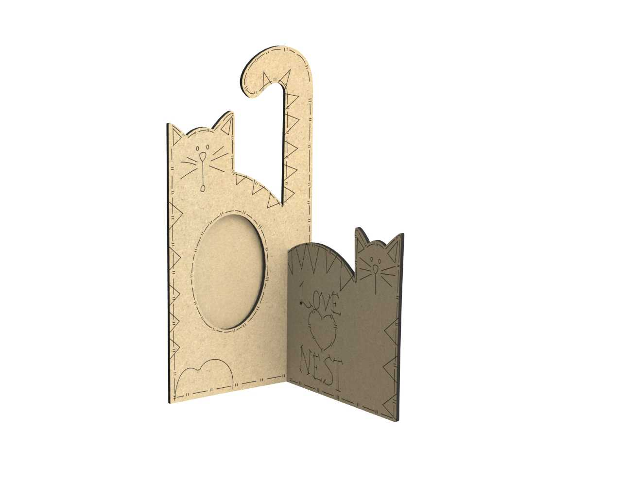 Laser Cut Cat Photo Frame Free Vector