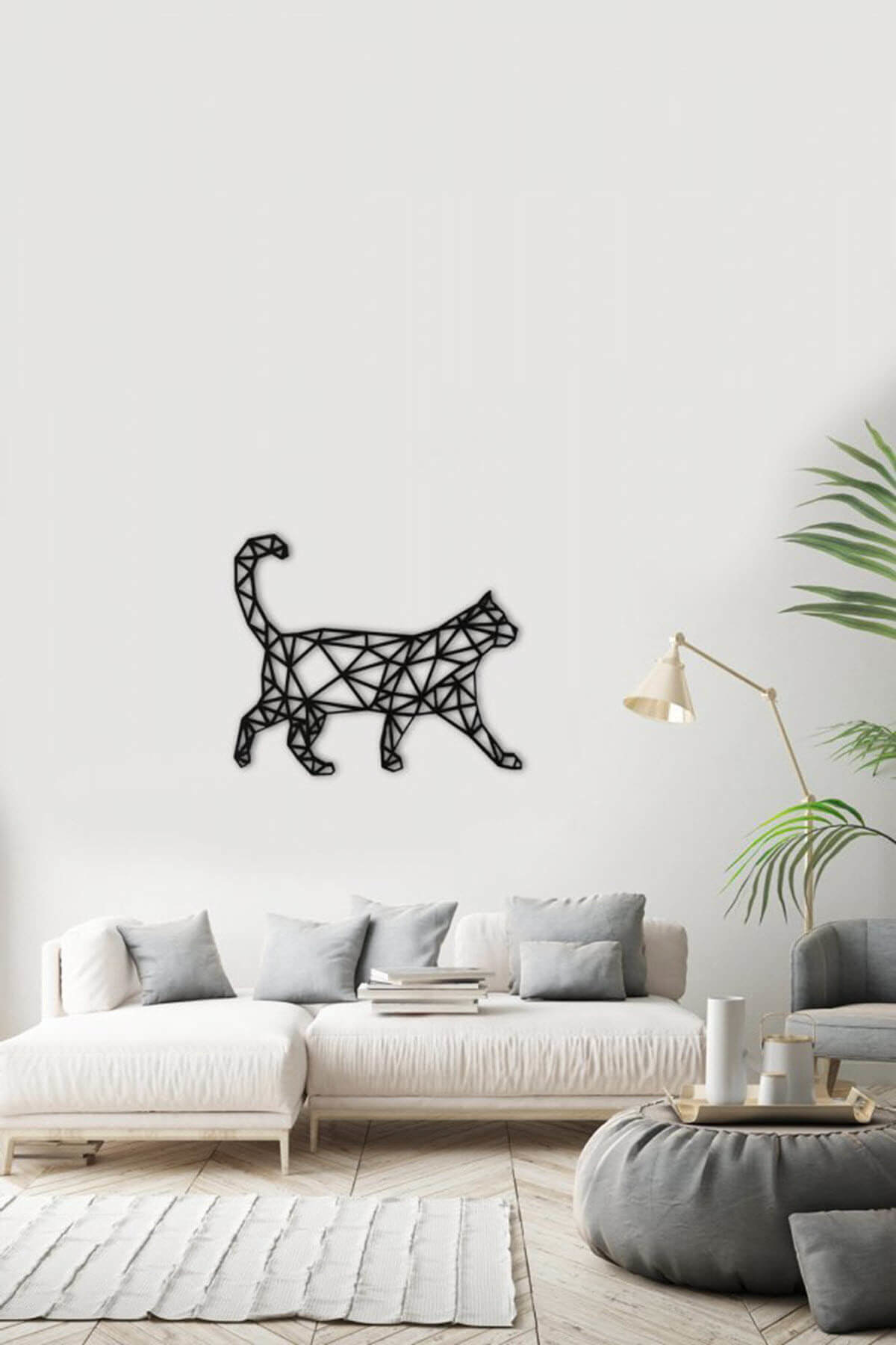 Laser Cut Polygonal Cat Wall Decal DXF File
