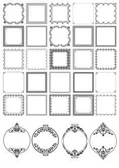 Black Classic Decor Frames Set Free Vector
