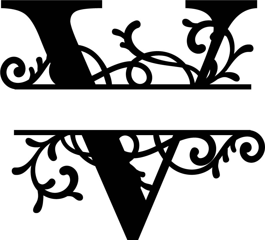 Split Monogram Letter V DXF File