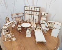 Laser Cut Miniature Dollhouse Furniture Set Free Vector