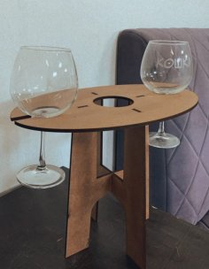 Laser Cut Wine Table Wine Bottle And Glass Holder Free Vector