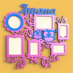 Laser Cut Baby Owls Photo Frame Free Vector