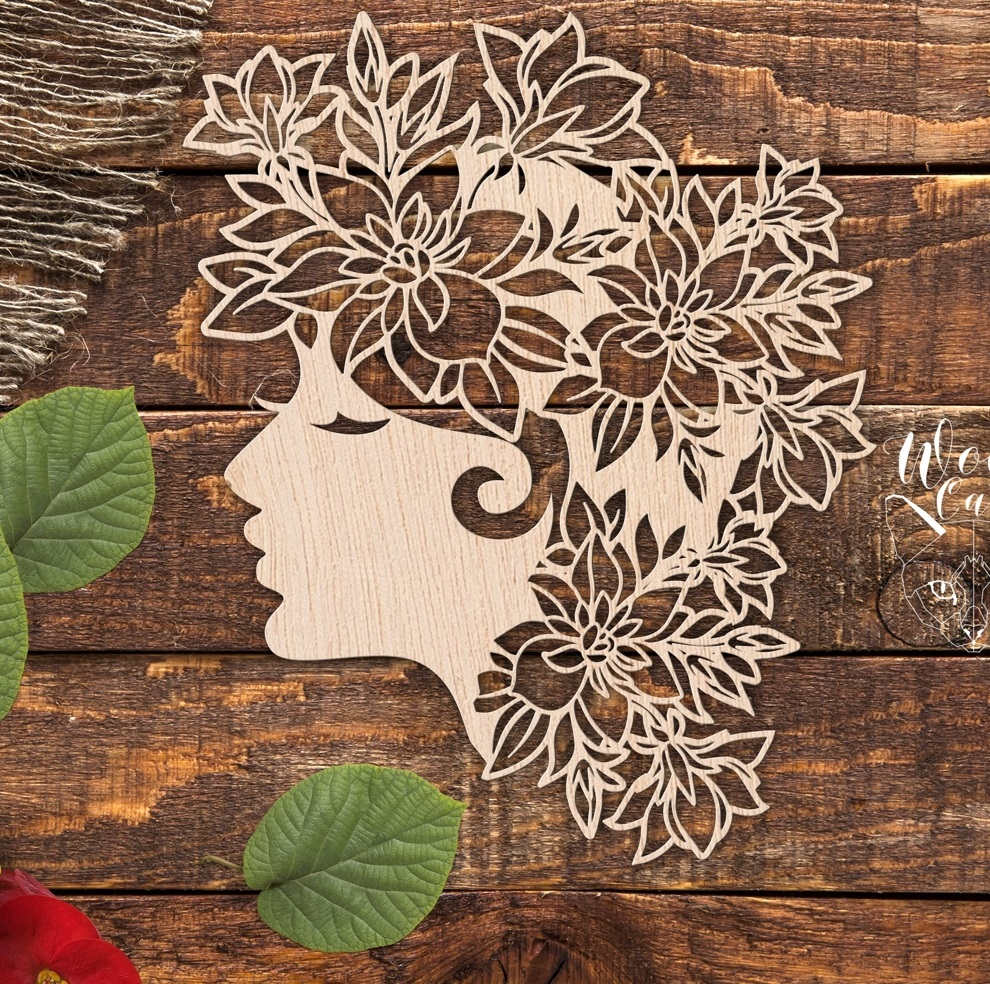 Laser Cut Engrave Girl Head With Floral Hair Free Vector