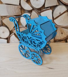Laser Cut Baby Shower Carriage Stroller Wedding Favors Free Vector