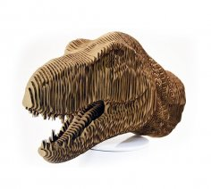 Laser Cut Tyrannosaurus Dinosaur T-Rex Head Layered Model Free Vector