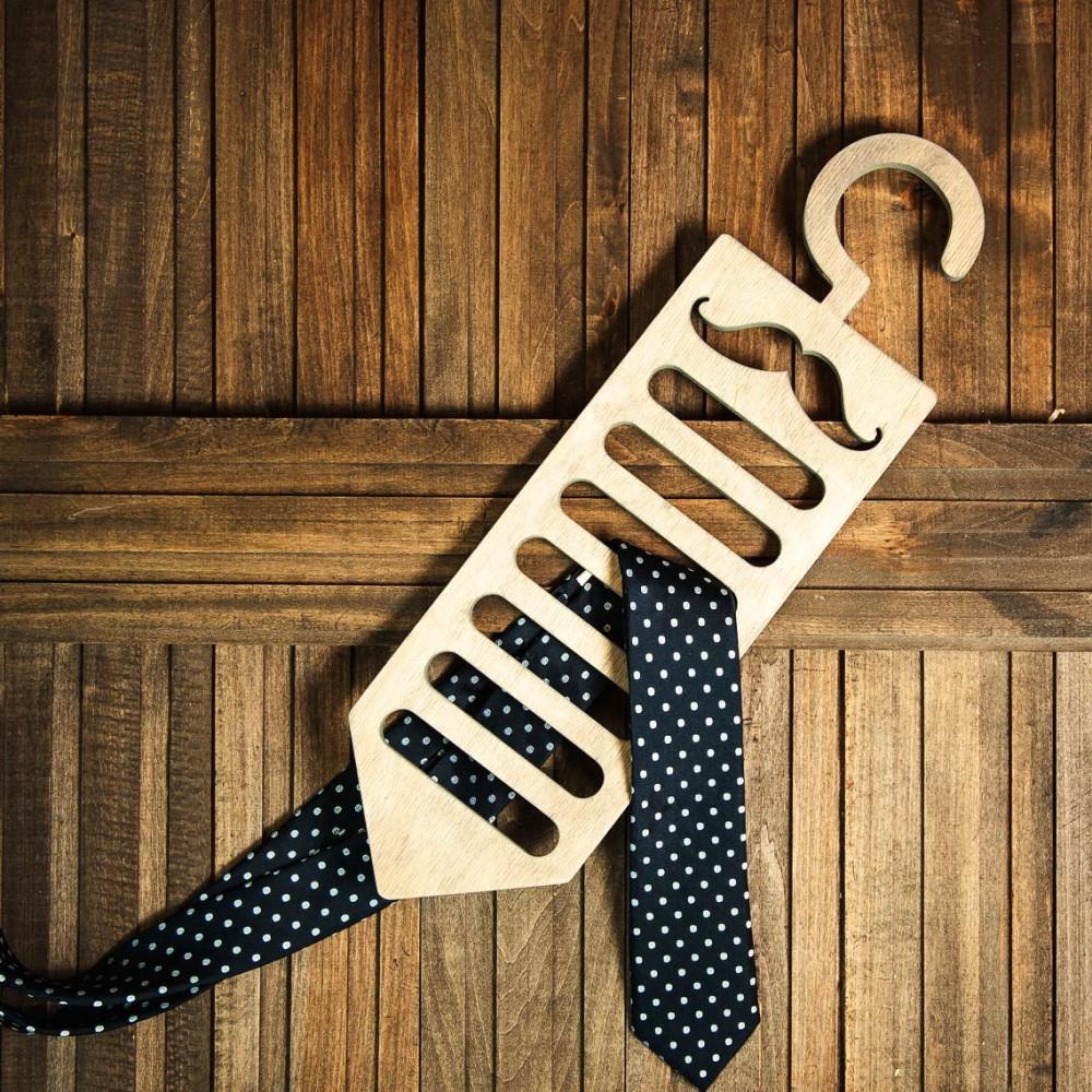 Laser Cut Wooden Moustache Tie Hanger Free Vector