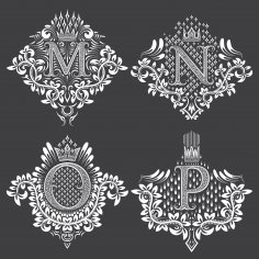 Monogram Ornament Letters Free Vector