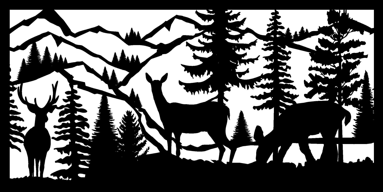 30 X 60 Buck Two Does Mountains River Plasma Metal Art DXF File